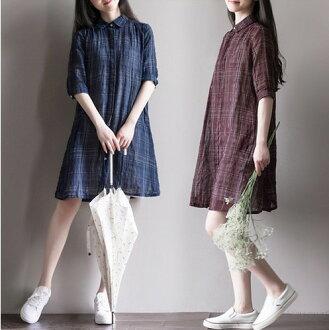 滿799再現折$100 [英倫敘事] 兩件組 復古棉麻學院風經典格子棉綁帶背心裙式洋裝+外套罩衫[2色,M~2XL] - 御聖願