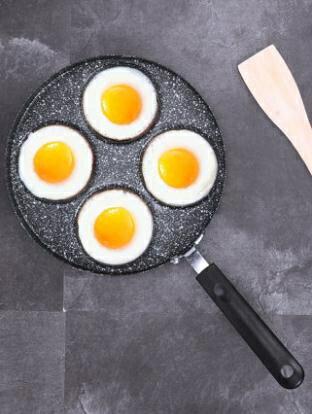 麥飯石四孔煎蛋鍋平底鍋不粘鍋鐵鍋煎餅蛋餃煎蛋神器電磁爐