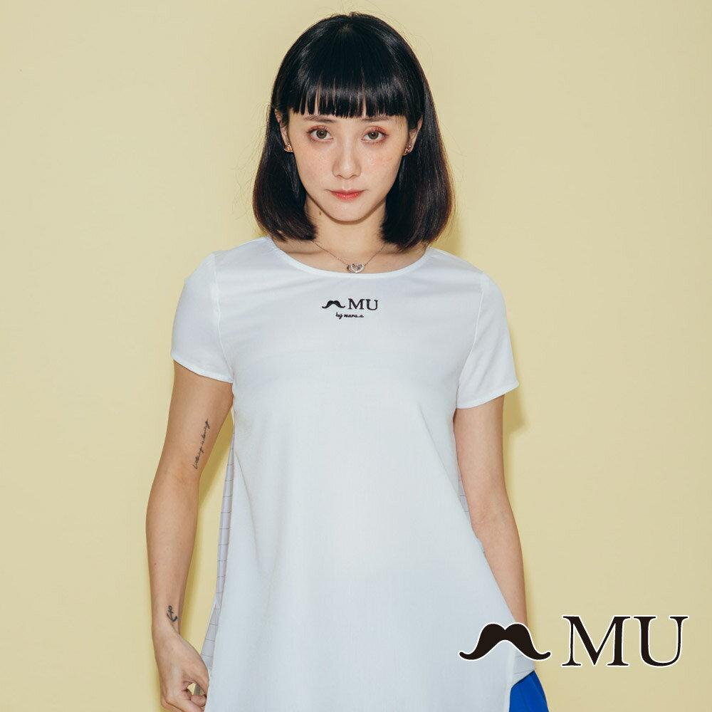 【MU】素面簡約LOGO條紋側拼接上衣(2色)7323168 0