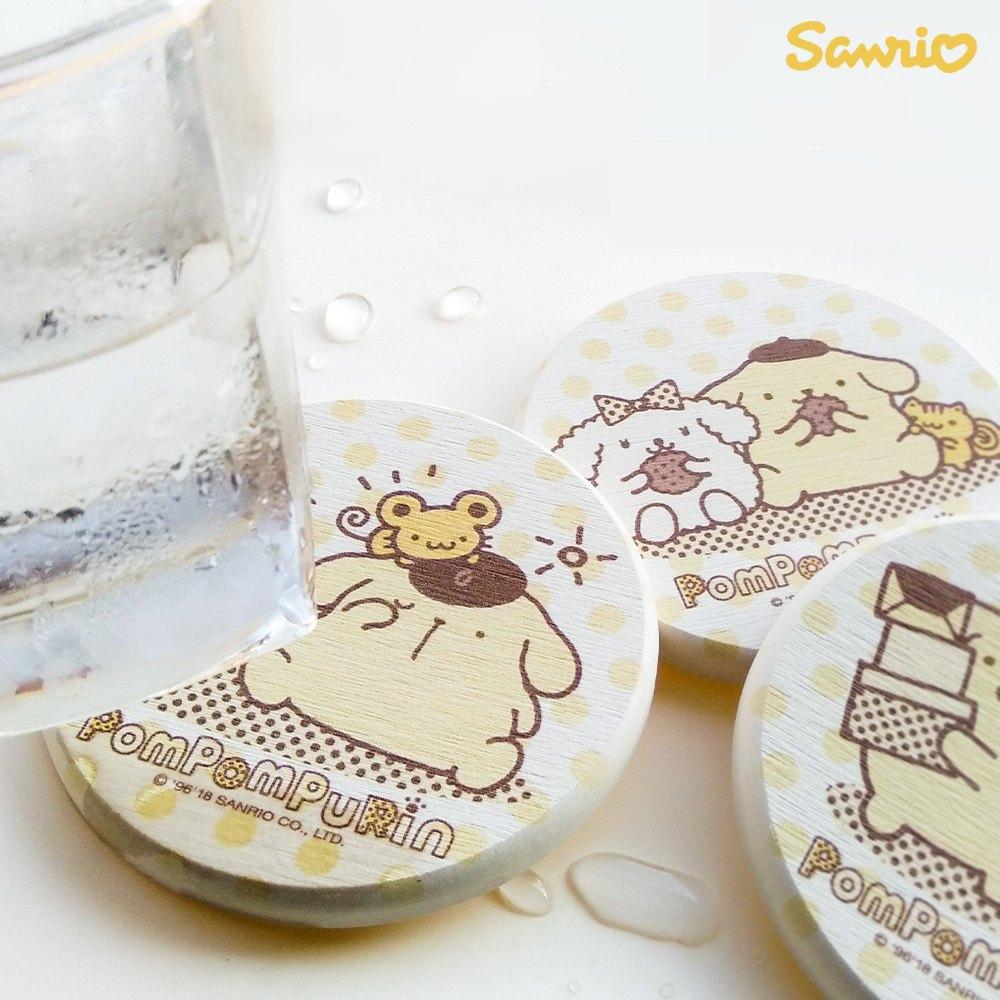 【買一送一】三麗鷗獨家授權 Sanrio 珪藻土吸水杯墊 布丁狗 Pom Pom Purin 2