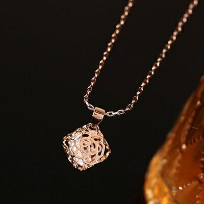 純銀項鍊 鍍18K金鑲鑽吊墜~玫瑰花形狀生日情人節 女飾品73dn31~ ~~米蘭 ~