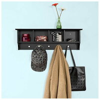 Haotian Wall Shelves,Wall rack,Wall-Mounted Cabinets ,Storage Racks, Coat Rack with HooksFRG48-L-SCH