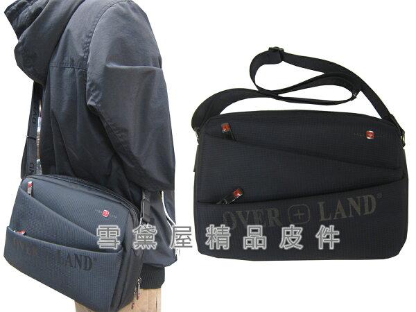 ~雪黛屋~OVER-LAND肩側包中容量二層主袋隨身物品專用輕巧中性款男女適用防水尼龍布+皮革材質多袋口設計T5227