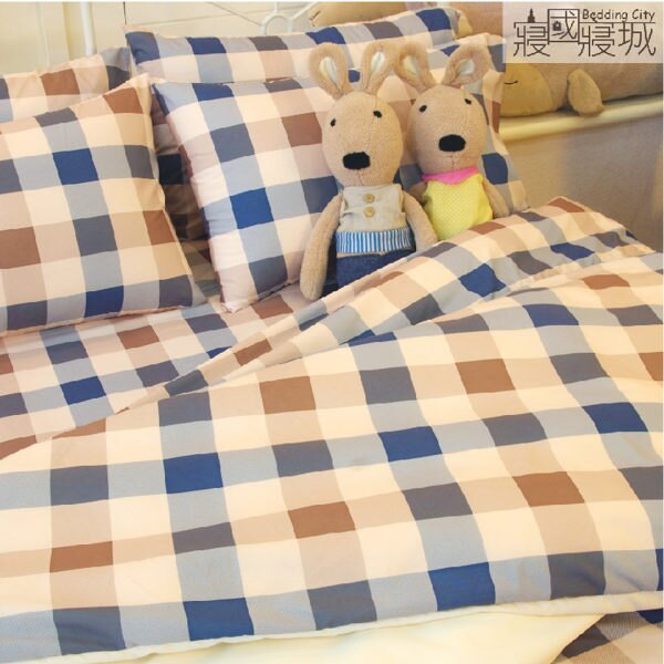 加大雙人床包(含枕套) 英式格紋 #咖啡藍 #豆粉藍【精典格紋、觸感升級、SGS檢驗通過】 # 寢國寢城 4