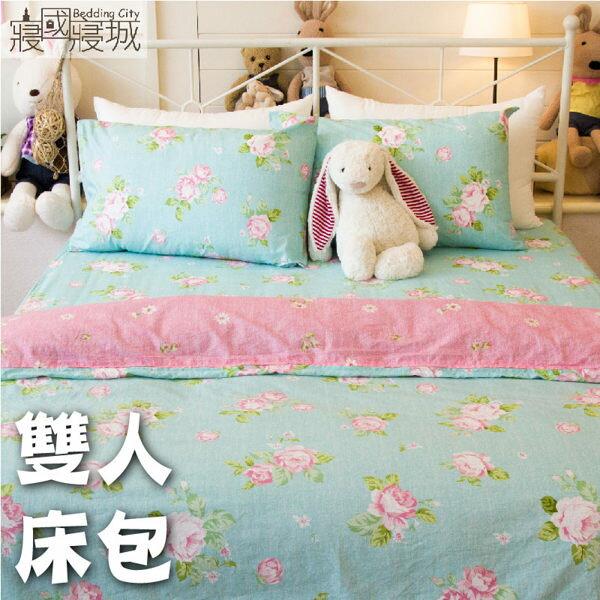 床包組/雙人/100%精梳棉-春天的氣息#綠色玫瑰【大鐘印染、台灣製造】#精梳純綿
