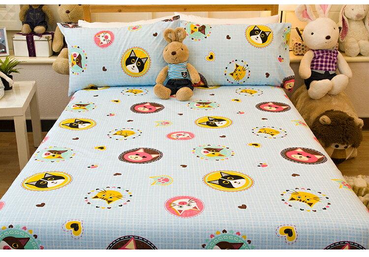 加大雙人床包枕套3件組【超細纖維、飽滿色彩、觸感升級、SGS檢驗通過】狗狗貓貓 # 寢國寢城 1