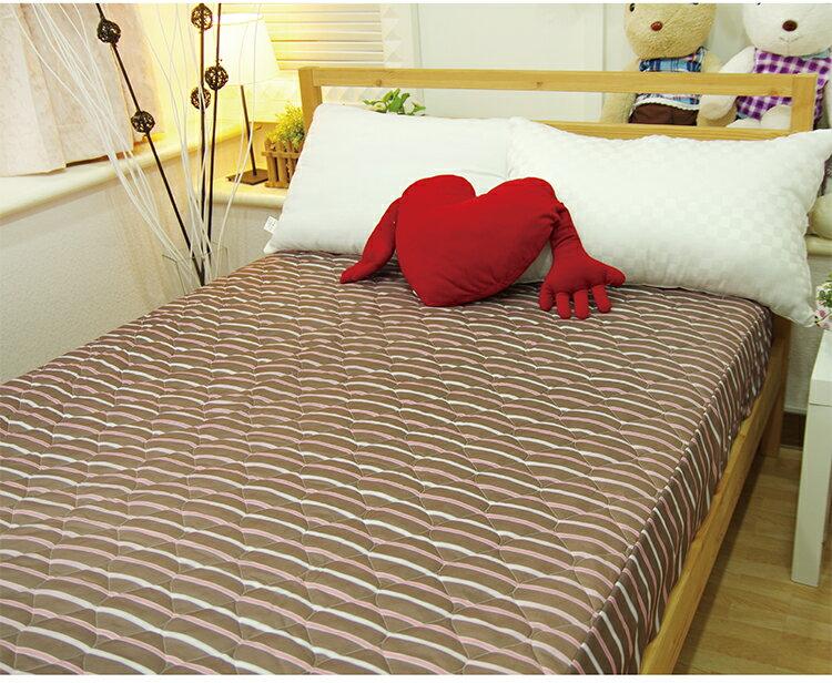 保潔墊 雙人印花鋪棉床包式 - 巧克力糖 三層抗汙/環保/鋪棉/延緩滲入 5x6.2尺 寢國寢城 4