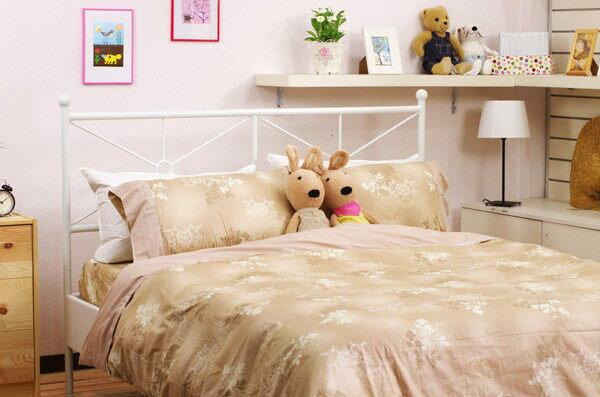 雙人床包組【100%精梳棉、柔軟不悶熱】5x6.2尺印花純棉床包組#楓葉x淺咖啡 0