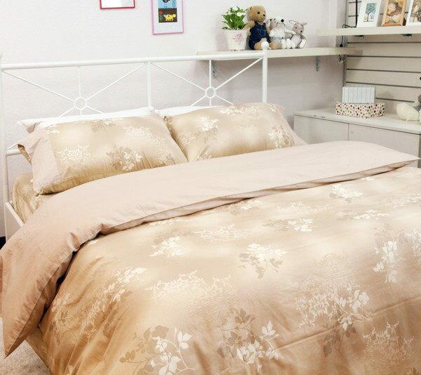 雙人床包組【100%精梳棉、柔軟不悶熱】5x6.2尺印花純棉床包組#楓葉x淺咖啡 1