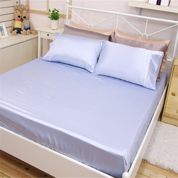 加大雙人床包枕套3件組【滑順不悶熱、台灣製】綢緞絲棉床包組#5色 4