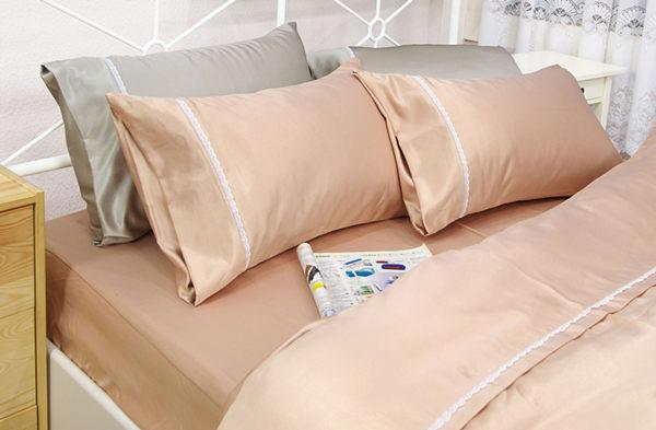 加大雙人床包被套4件組【滑順不悶熱、台灣製】綢緞絲棉床包組#5色 # 寢國寢城 2