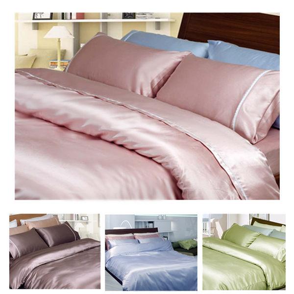 雙人床包被套4件組【滑順不悶熱、台灣製】5x6.2尺綢緞絲棉床包組 # 珍珠葡萄紫 # 寢國寢城 1
