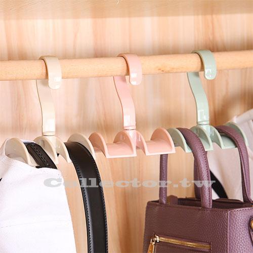 【F17032302】創意包包節省空間360度旋轉收納雙掛勾 衣櫃免釘掛領帶皮帶掛鉤