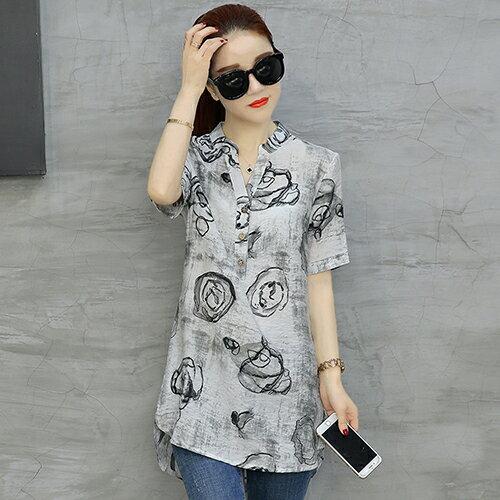 棉麻短袖印花T恤(6色M~4XL)【OREAD】 0