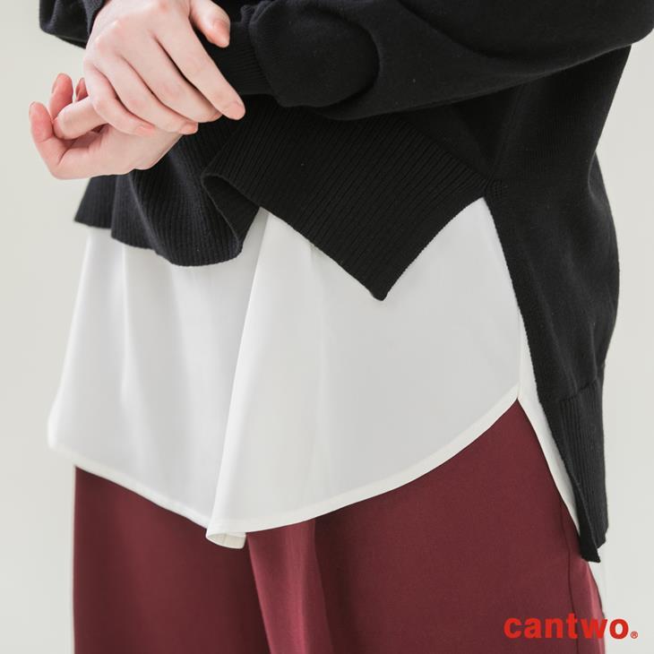 cantwo雪紡拼接假兩件針織上衣(共三色) 5