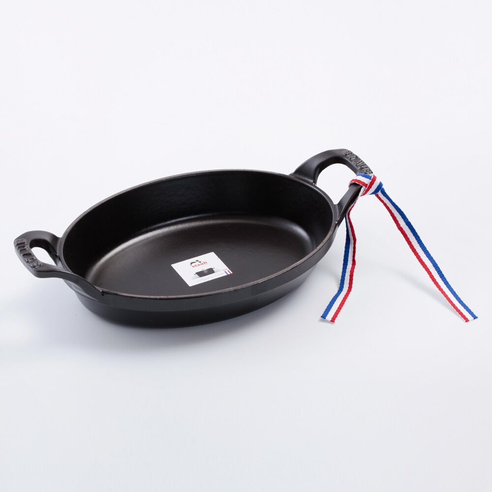 【法國Staub】橢圓形鑄鐵烤盤 可堆疊烤盤 21cm 黑色 法國製【Staub烤盤 法國Staub Staub鍋】 1