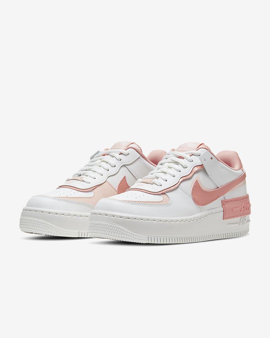 【日本海外代購】NIKE AIR FORCE 1 AF1 白 粉 蜜桃粉 厚底 板鞋 運動鞋 女鞋 CJ1641-101
