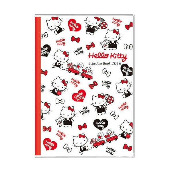 【真愛日本】15091500031 A6 KT黑衣白紅 2016年曆 日誌 手帳 行事曆 文具用品 KITTY