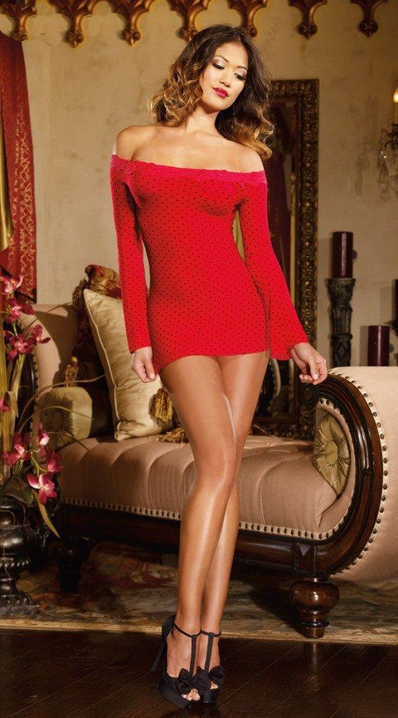 #075 紅色火辣熱銷性感情趣內衣露肩一字領長袖包臀短裙連身裙洋裝