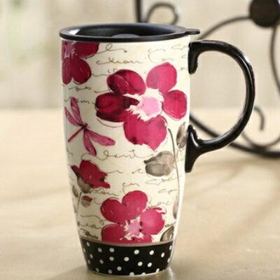 ☆咖啡杯 彩繪馬克杯-歐美手繪大容量田園風陶瓷水杯5色72ax2【獨家進口】【米蘭精品】