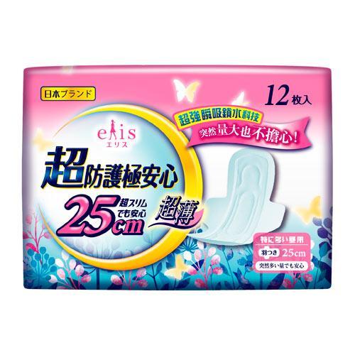 日本大王elis愛麗思超防護極安心日用超薄衛生棉25cm X12片【愛買】