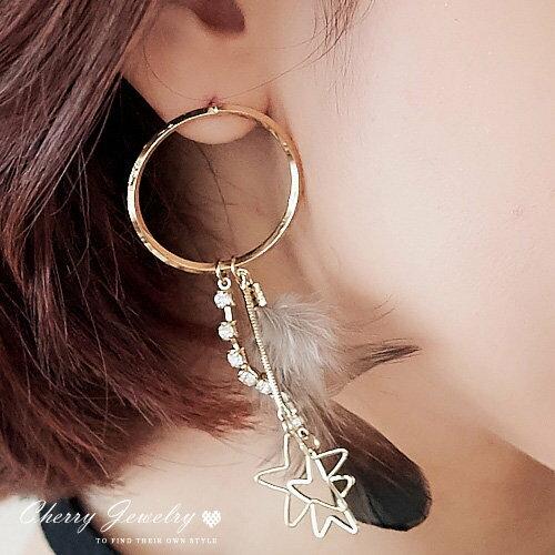 垂墜水鑽羽毛 耳環 ~櫻桃飾品~~10527~