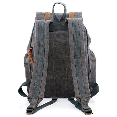 Men's Outdoor Sport Vintage Canvas Military BackBag Shoulder Travel Hiking Camping School Bag Backpack - Gray 1