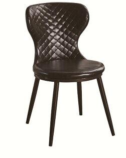 【石川家居】JF-485-8唯爾咖啡皮鐵藝餐椅(單只)(不含其他商品)台北到高雄搭配車趟免運