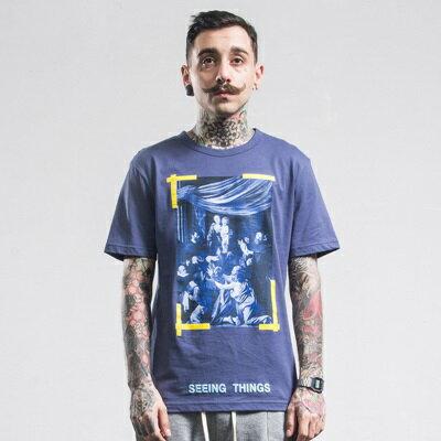短袖T恤休閒上衣-夏季圓領印花藍色男裝73qx23【獨家進口】【米蘭精品】