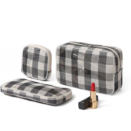 【超取399免運】旅行便攜化妝包三件套 多功能美妝數碼收納包 透氣網格袋