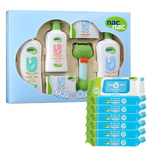 【奇買親子購物網】寶貝可愛nacnac牛奶燕麥護膚禮盒五件組附提袋+nacnac濕巾20抽(6入)