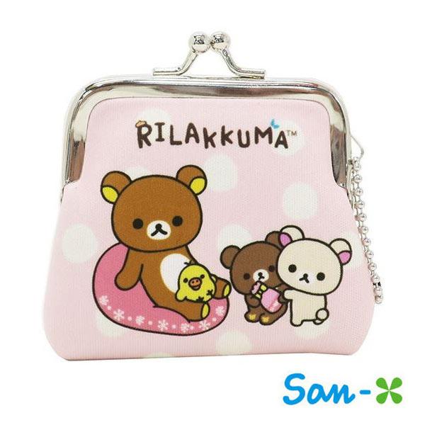 圓點款【日本進口】San-X 拉拉熊 小型 防震棉 珠扣包 零錢包 懶懶熊 Rilakkuma 吊飾孔設計 - 439552