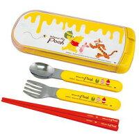 小熊維尼周邊商品推薦維尼 餐具三件組 筷子 湯匙 叉子 抱蜂蜜奔跑 POOH 日本製 正版授權J00012410
