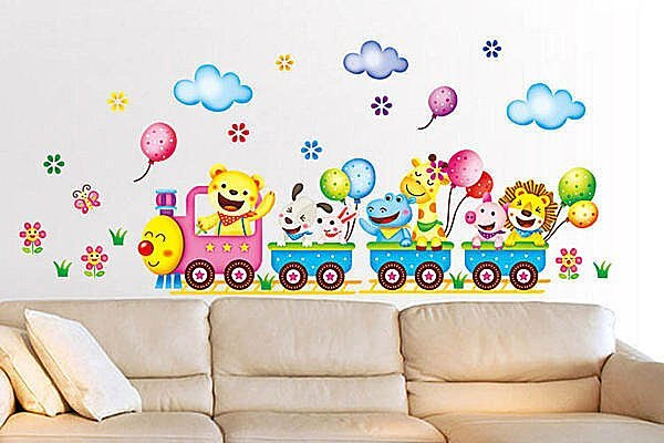 BO雜貨【YV2103】創意可移動壁貼 牆貼 背景貼 磁磚貼 兒童房佈置設計壁貼 霜淇淋車