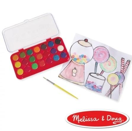 NANABABY:【美國瑪莉莎Melissa&Doug】豪華水彩粉餅顏料21色#MD4120