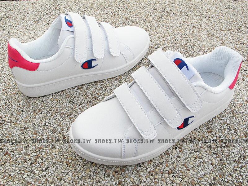 《7折回饋》Shoestw【811220104】CHAMPION 休閒鞋 魔鬼氈 黏帶 皮革 白桃紅 女生尺寸 1