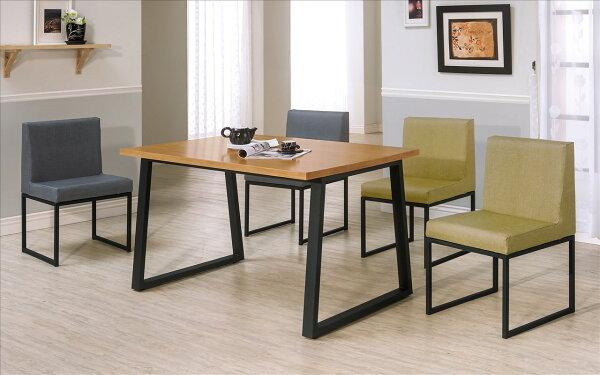 【石川家居】YE-A442-01威爾斯4.3尺全實木面黑腳餐桌(不含餐椅及其他商品)台北到高雄搭配車趟免運