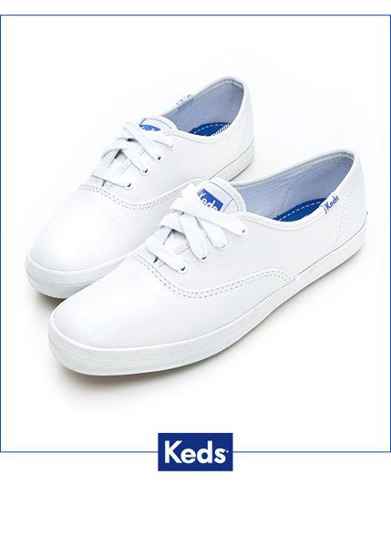 【KEDS 85折│全店免運】KEDS  經典升級皮質綁帶休閒鞋(白皮革) 白鞋│綁帶│懶人鞋│平底 1