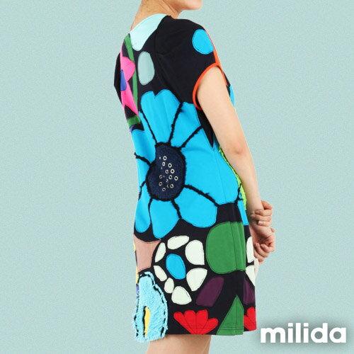 【Milida,全店七折免運】-夏季尾聲-一字領-造型花朵洋裝 3