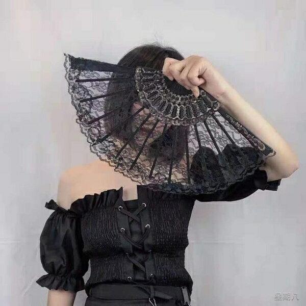 扇子 擺拍道具復古風日式和風蕾絲旗袍扇子【99購物節】