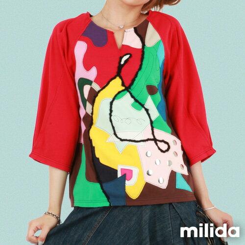 【Milida,全店七折免運】-秋冬單品-T恤款-甜美拼貼款 1
