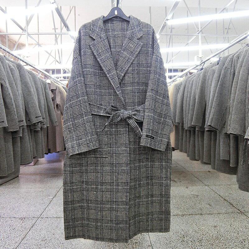 毛呢大衣羊毛外套-長版格紋繫帶翻領女外套73wb12【獨家進口】【米蘭精品】 2