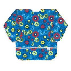 【淘氣寶寶】【美國Bumkins】防水兒童3-5歲 圍兜(長袖)-藍色齒輪 BKAS-690【保證公司貨】