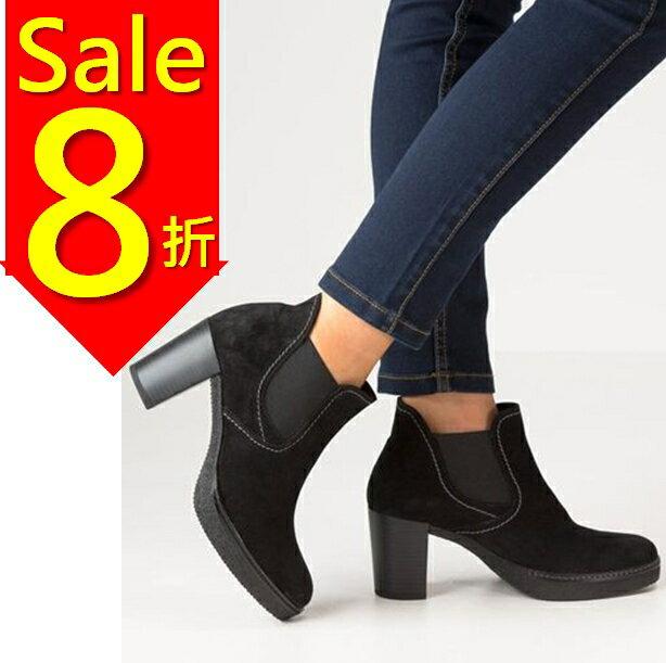 Gabor 縫紋交露踝時尚跟靴 黑 粗跟│中跟│寬楦│皮革 0