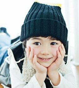 Kocotree◆秋冬時尚簡約百搭雙色立體毛球保暖兒童毛線帽-黃黑