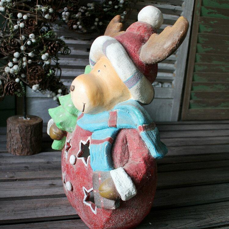 圣誕節麋鹿復古燭臺 鏤空樹脂燭臺 花園落地動物擺件 復古做舊1入