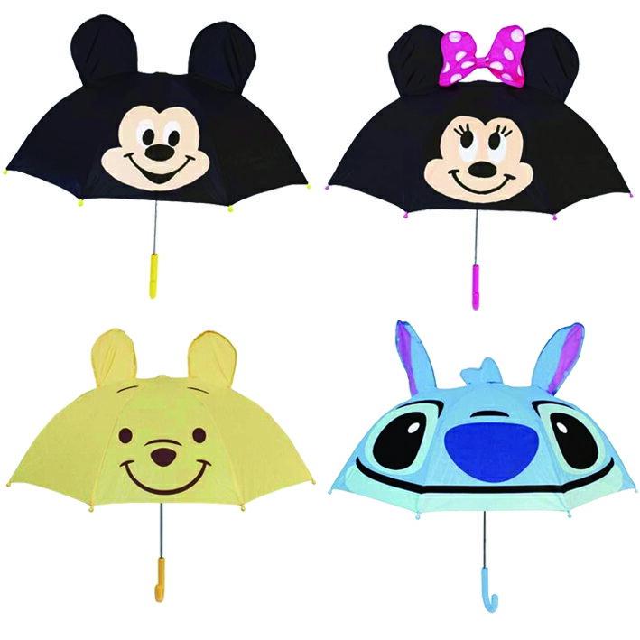 日本直送 迪士尼 Disney 米奇 / 米妮 / 小熊維尼 / 史蒂奇 /三眼怪 立體耳朵造型 雨傘 兒童用