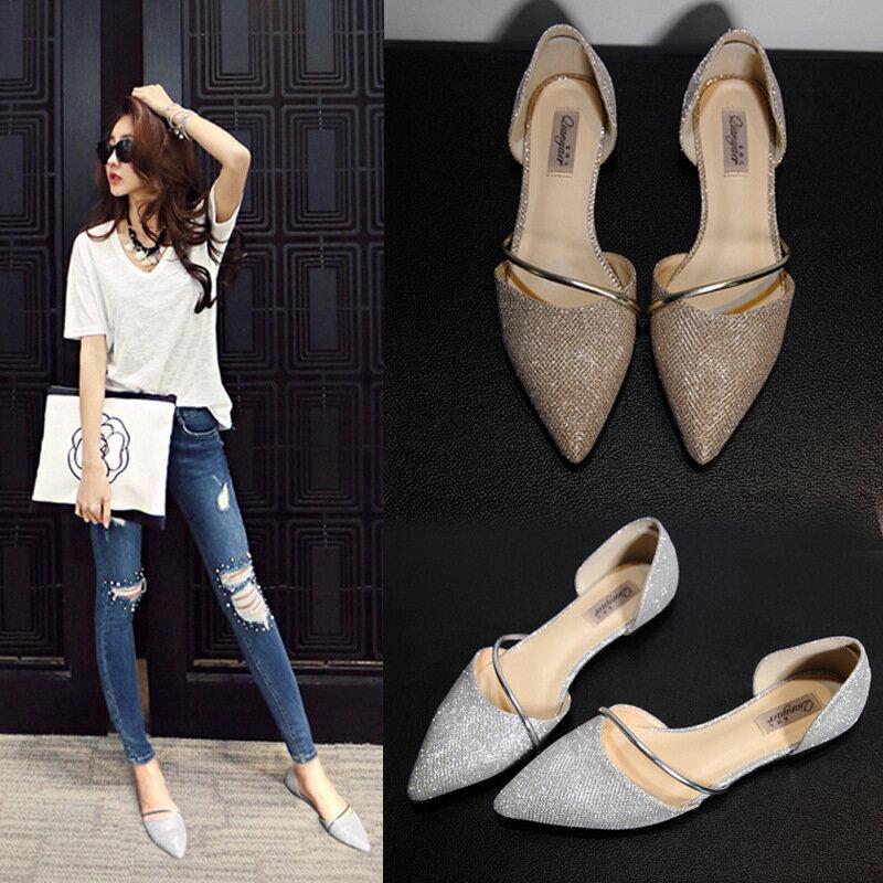 2016新品平底女單鞋尖頭鞋平跟淺口套腳金屬環金蔥亮片布名媛氣質感銀灰古銅金
