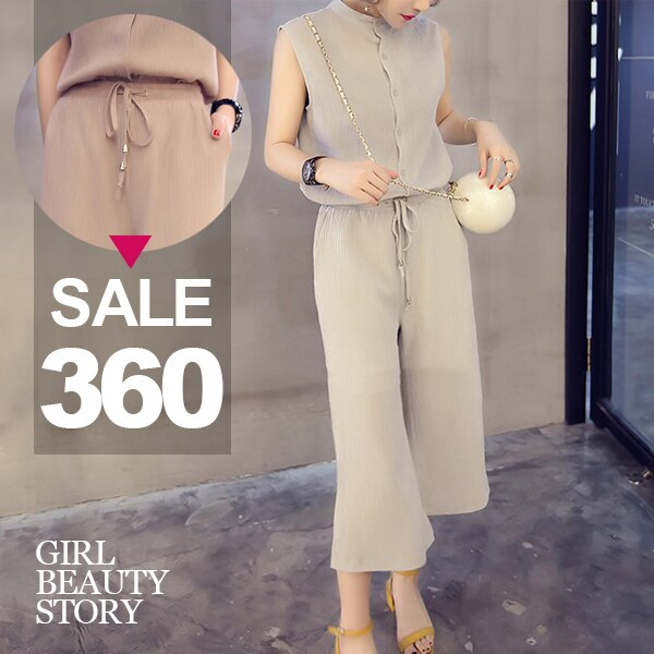 SISI~E6044~超顯瘦休閒單排扣立領無袖雪紡背心上衣 氣質抽繩寬管七分褲套裝