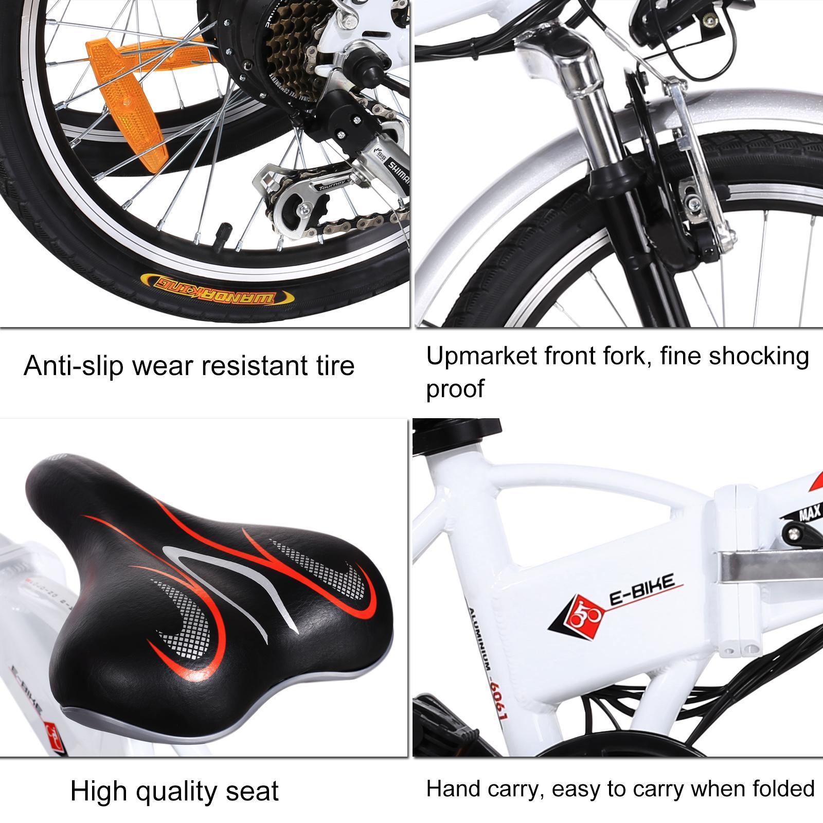 18.7 inch Wheel Aluminum Alloy Frame Folding Mountain Bike Cycling Bicycle White 4